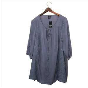 Torrid Gauze Lace Tie Front Top Size 2X NWT